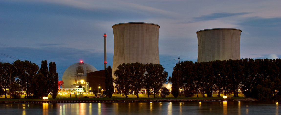 Nuclear Power Plant at Night